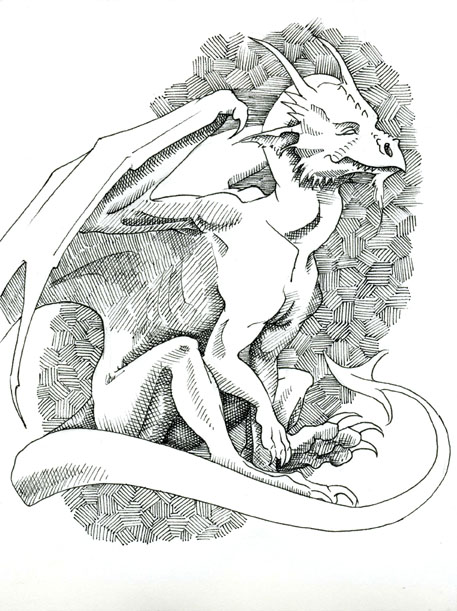 Relaxed. Pen and ink dragon. by Jennifer Broschinsky.