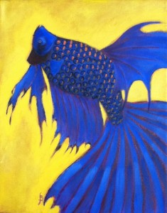 """Blue and Gold"": painting by Jennifer Broschinsky"