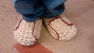 Slippers! Modeled by my 5-yr-old.