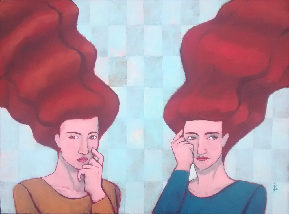 "Conversation While Worrying About Other Things. 18""x24"" acrylic on canvas by Jennifer Broschinsky"