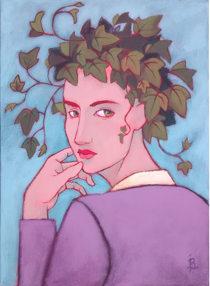 "Gardening Experiment. 11""x14"" acrylic on canvas by Jennifer Broschinsky"